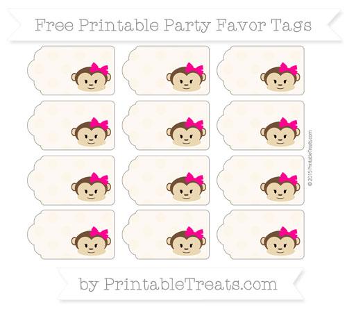 Free Antique White Polka Dot Girl Monkey Party Favor Tags
