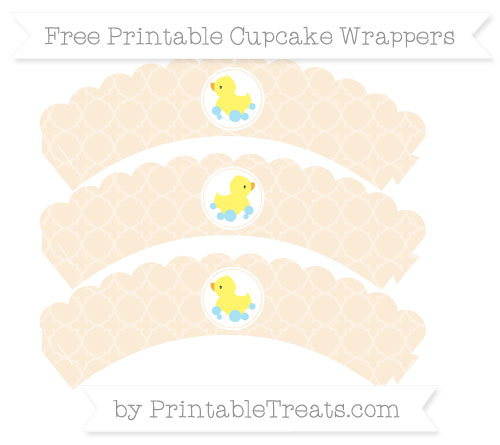 Free Antique White Quatrefoil Pattern Baby Duck Scalloped Cupcake Wrappers
