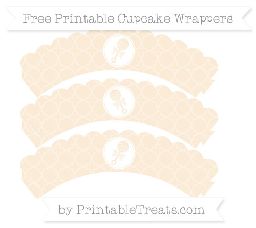 Free Antique White Quatrefoil Pattern Baby Rattle Scalloped Cupcake Wrappers