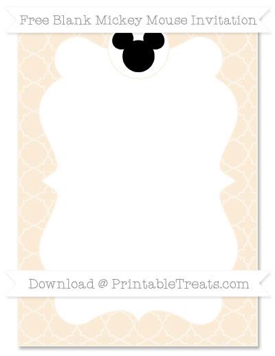 Free Antique White Quatrefoil Pattern Blank Mickey Mouse Invitation