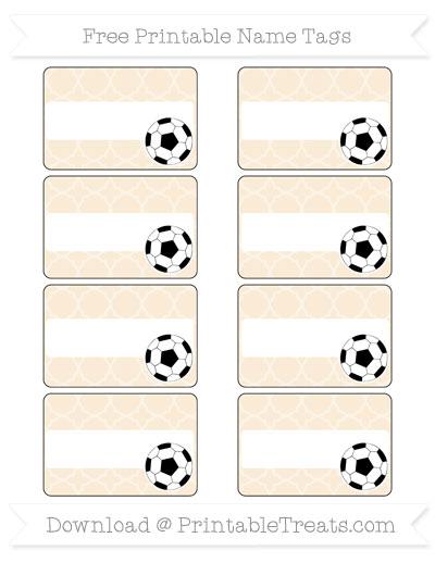 Free Antique White Quatrefoil Pattern Soccer Name Tags