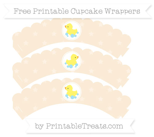 Free Antique White Star Pattern Baby Duck Scalloped Cupcake Wrappers