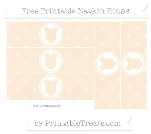 Free Antique White Star Pattern Baby Onesie Napkin Rings