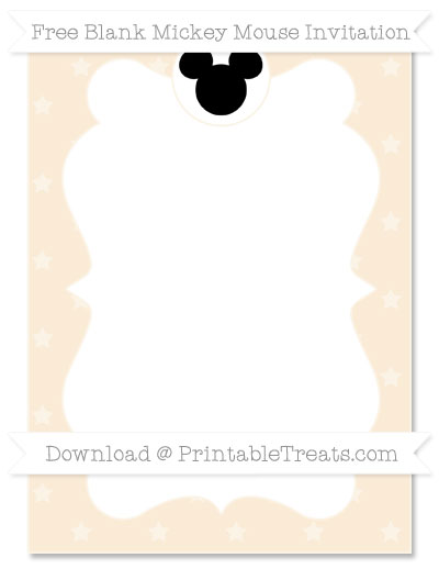 Free Antique White Star Pattern Blank Mickey Mouse Invitation