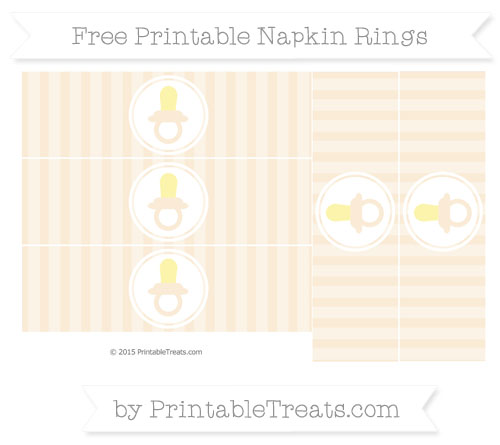 Free Antique White Striped Baby Pacifier Napkin Rings
