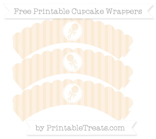 Free Antique White Striped Baby Rattle Scalloped Cupcake Wrappers