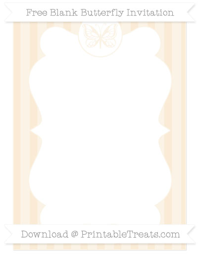 Free Antique White Striped Blank Butterfly Invitation