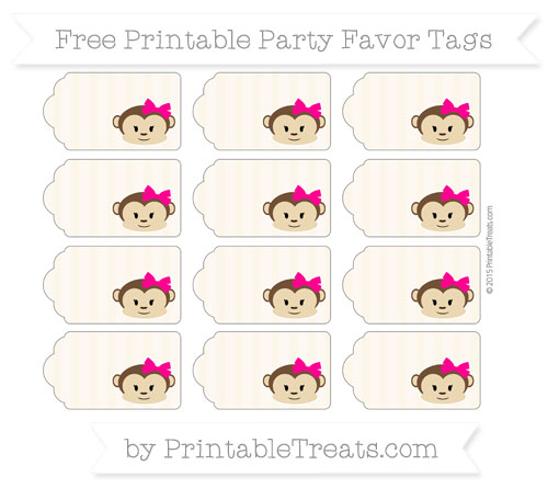 Free Antique White Striped Girl Monkey Party Favor Tags