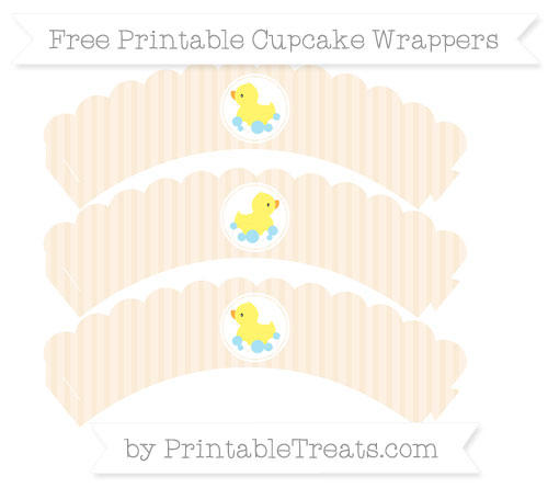 Free Antique White Thin Striped Pattern Baby Duck Scalloped Cupcake Wrappers