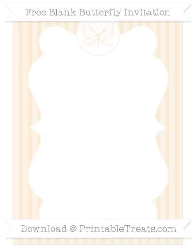 Free Antique White Thin Striped Pattern Blank Butterfly Invitation