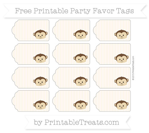 Free Antique White Thin Striped Pattern Boy Monkey Party Favor Tags