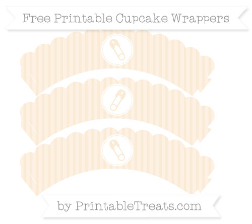 Free Antique White Thin Striped Pattern Diaper Pin Scalloped Cupcake Wrappers