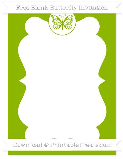 Free Apple Green Blank Butterfly Invitation