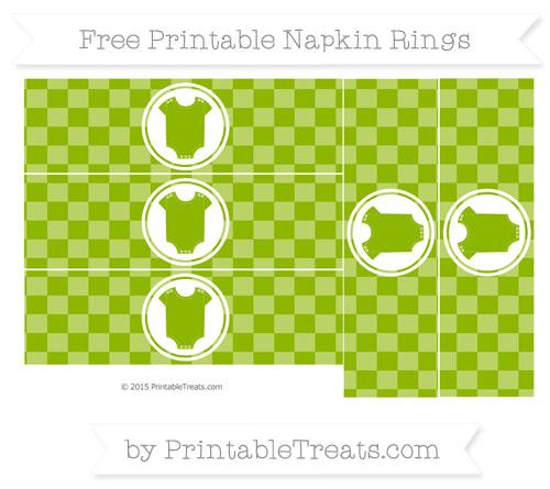 Free Apple Green Checker Pattern Baby Onesie Napkin Rings