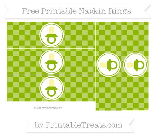 Free Apple Green Checker Pattern Baby Pacifier Napkin Rings
