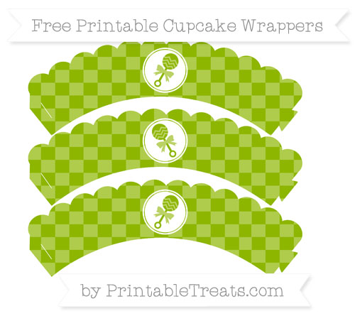 Free Apple Green Checker Pattern Baby Rattle Scalloped Cupcake Wrappers