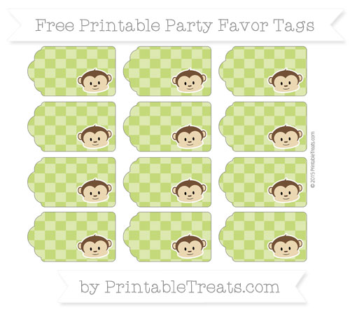 Free Apple Green Checker Pattern Boy Monkey Party Favor Tags