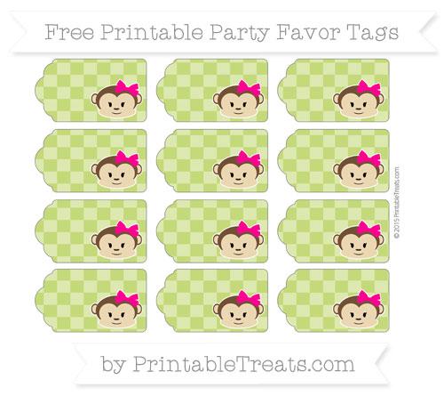 Free Apple Green Checker Pattern Girl Monkey Party Favor Tags