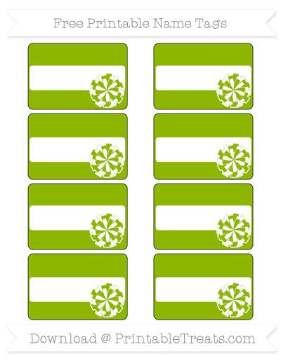 Free Apple Green Cheer Pom Pom Tags