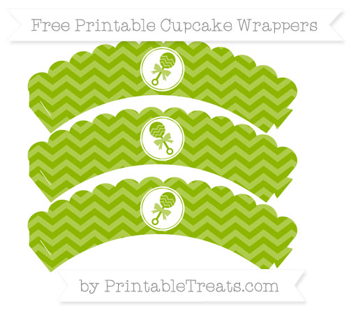Free Apple Green Chevron Baby Rattle Scalloped Cupcake Wrappers