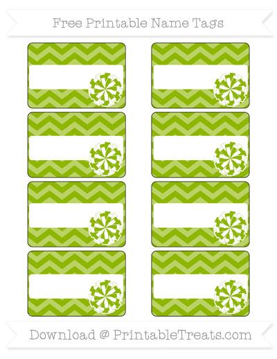 Free Apple Green Chevron Cheer Pom Pom Tags