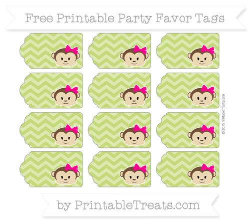 Free Apple Green Chevron Girl Monkey Party Favor Tags