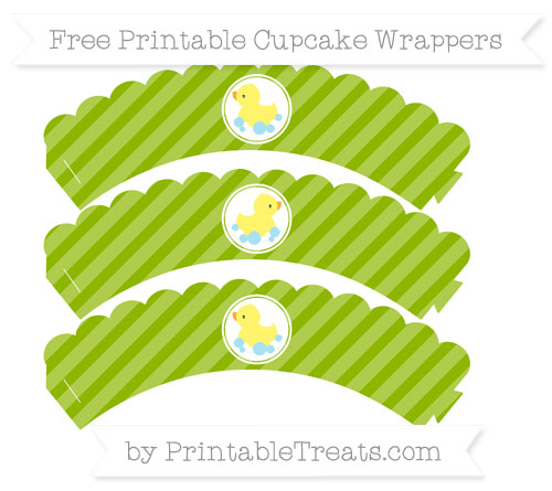 Free Apple Green Diagonal Striped Baby Duck Scalloped Cupcake Wrappers