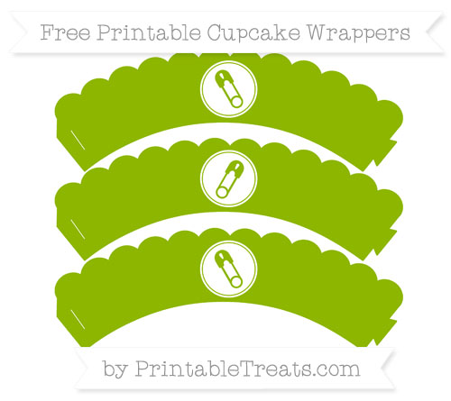 Free Apple Green Diaper Pin Scalloped Cupcake Wrappers