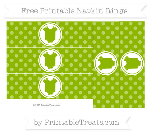 Free Apple Green Dotted Pattern Baby Onesie Napkin Rings