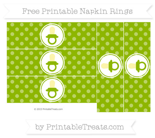 Free Apple Green Dotted Pattern Baby Pacifier Napkin Rings