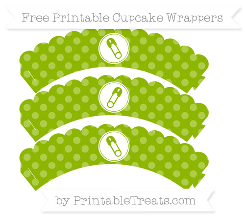 Free Apple Green Dotted Pattern Diaper Pin Scalloped Cupcake Wrappers