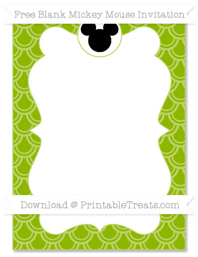 Free Apple Green Fish Scale Pattern Blank Mickey Mouse Invitation