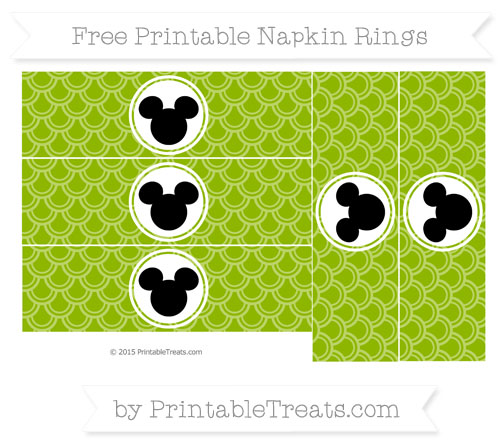 Free Apple Green Fish Scale Pattern Mickey Mouse Napkin Rings