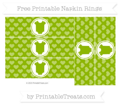 Free Apple Green Heart Pattern Baby Onesie Napkin Rings