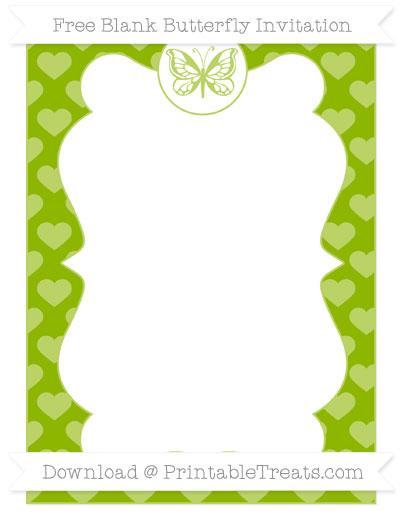 Free Apple Green Heart Pattern Blank Butterfly Invitation