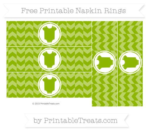 Free Apple Green Herringbone Pattern Baby Onesie Napkin Rings