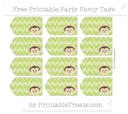 Free Apple Green Herringbone Pattern Boy Monkey Party Favor Tags