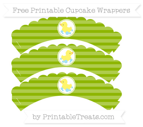 Free Apple Green Horizontal Striped Baby Duck Scalloped Cupcake Wrappers