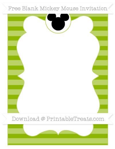 Free Apple Green Horizontal Striped Blank Mickey Mouse Invitation