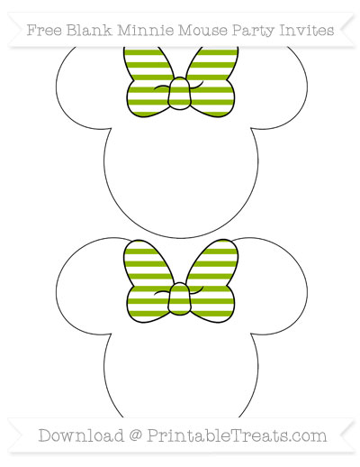 Free Apple Green Horizontal Striped Blank Minnie Mouse Party Invites