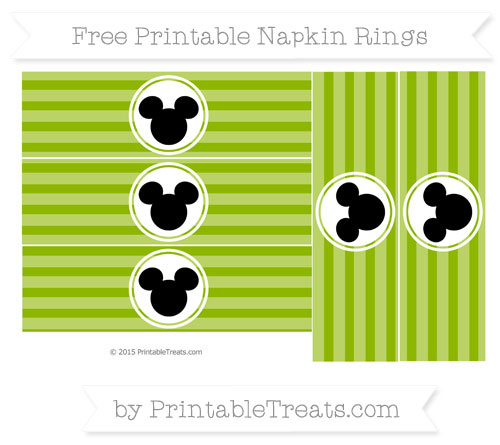 Free Apple Green Horizontal Striped Mickey Mouse Napkin Rings