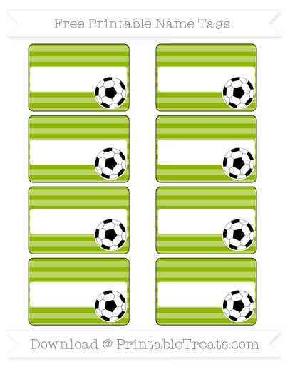 Free Apple Green Horizontal Striped Soccer Name Tags