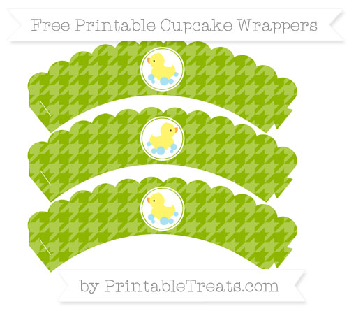 Free Apple Green Houndstooth Pattern Baby Duck Scalloped Cupcake Wrappers