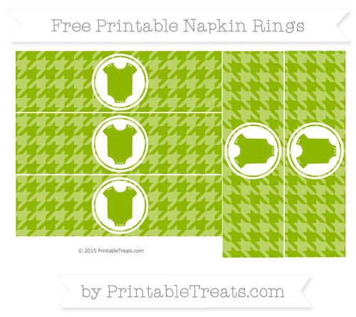 Free Apple Green Houndstooth Pattern Baby Onesie Napkin Rings