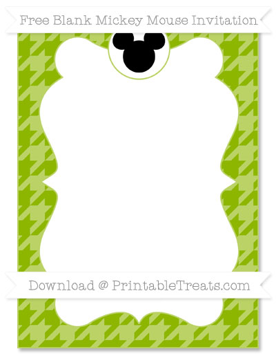 Free Apple Green Houndstooth Pattern Blank Mickey Mouse Invitation