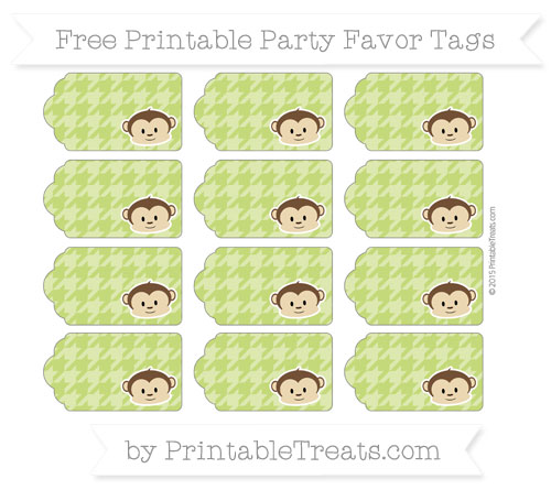 Free Apple Green Houndstooth Pattern Boy Monkey Party Favor Tags