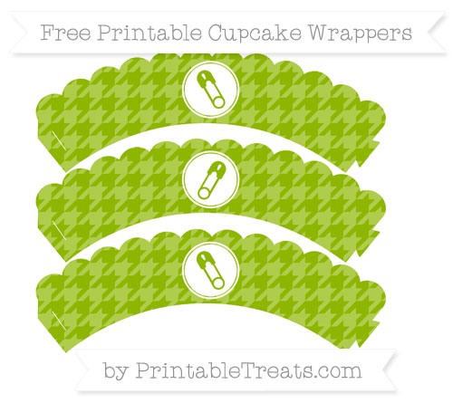 Free Apple Green Houndstooth Pattern Diaper Pin Scalloped Cupcake Wrappers