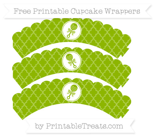 Free Apple Green Moroccan Tile Baby Rattle Scalloped Cupcake Wrappers