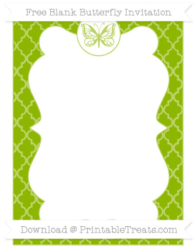 Free Apple Green Moroccan Tile Blank Butterfly Invitation