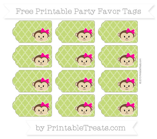 Free Apple Green Moroccan Tile Girl Monkey Party Favor Tags